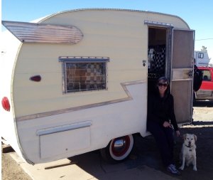 This is a picture of Baxter and me right after we purchased Junebug. I am super excited that my dream of owning a vintage camper has finally come true!