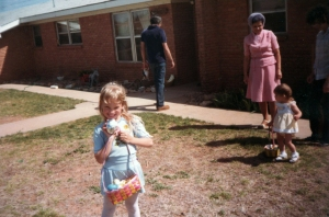I used to love Easter egg hunts!  I was five years old in this picture. :)